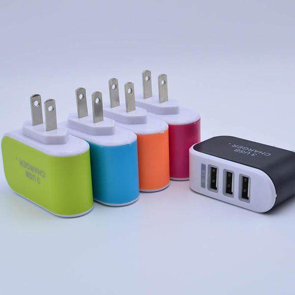 5V 3.1A US EU-Stecker LED-Adapter Reisefreundliches Netzteil mit drei USB-Anschlüssen für das iPhone 5s 6s 7 für Samsung