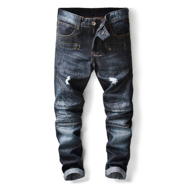 2019 New Spring Holes Jeans Men High Quality Famous Brand Denim Trousers Soft Mens Pants Men's Fashion Multi Fake Zippers Jeans