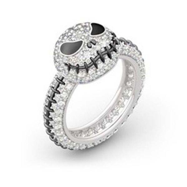 New Luxury Diamond Designer Rings Bling Bling Crystal Skull Ring Fashion Pumpkin Lamp Skeleton Ring Jewelry for Halloween Party