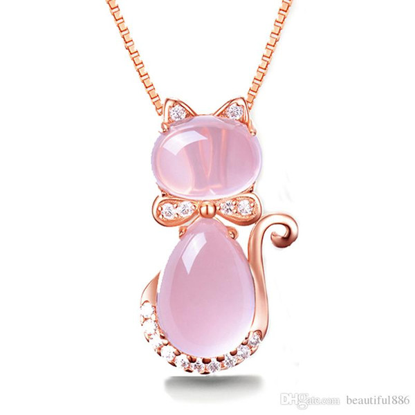 Free Shipping Rose Gold Color Cute Cat Ross Quartz Pink Opal S925 Jewelry Necklace for Women Girls Children Gift Choker