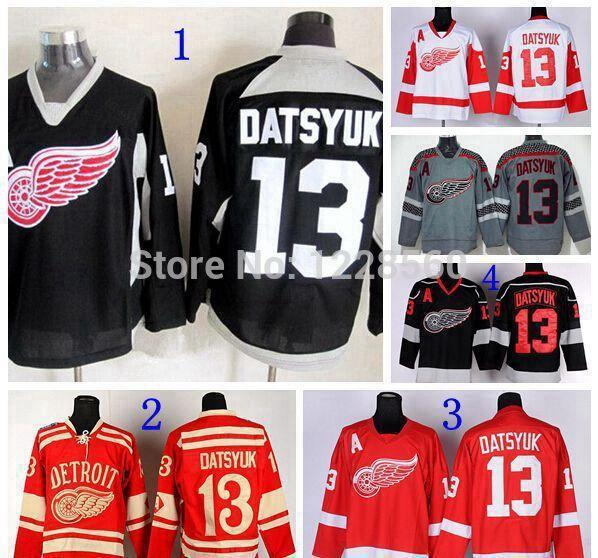 2015 Newest Detroit Red Wings Winter Classic Jerseys #13 Pavel Datsyuk Jersey Red Black White Gray Ice Hockey Jerseys
