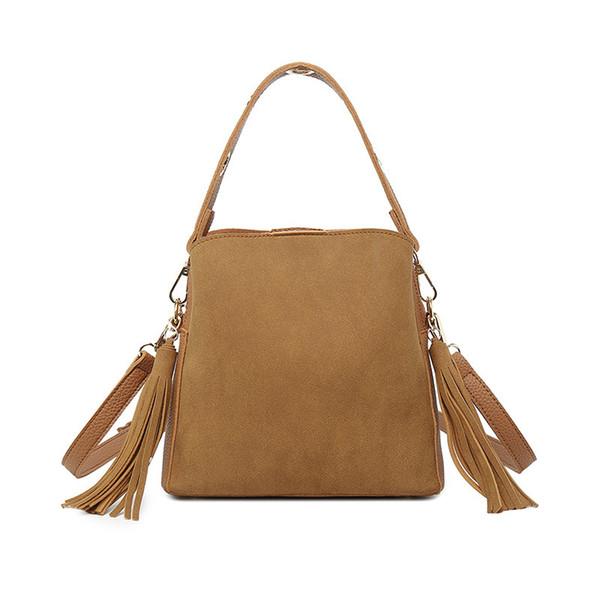 Kvky Brand Tassel Shoulder Bags Handbags Women Scrub Daily Bag for Girls Schoolbag Female Crossbody Bags New Bucket Sac