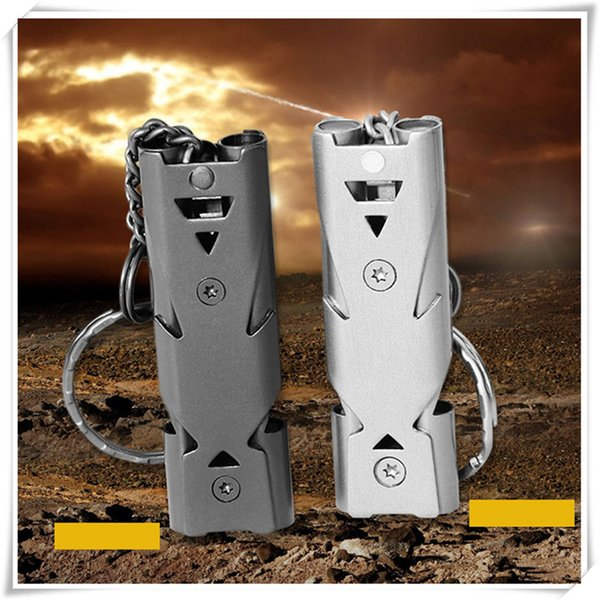 Double Whistle 150DB Stainless Steel Whistle With Key Chain Lifesaving Emergency SOS Encourage Outdoor Survival Tool