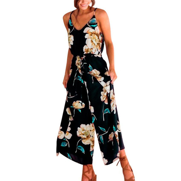 Strappy Floral Rompers Womens Jumpsuit Sling Long Trouser Sleeveless Overalls For Women S8717 dropship