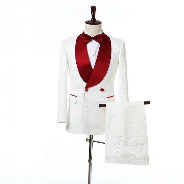 Customize Groom Tuxedos White Paisley Men Wedding Tuxedos Red Shawl Lapel Jacket Blazer Fashion Men Dinner/Darty Suit(Jacket+Pants+Tie) 1226