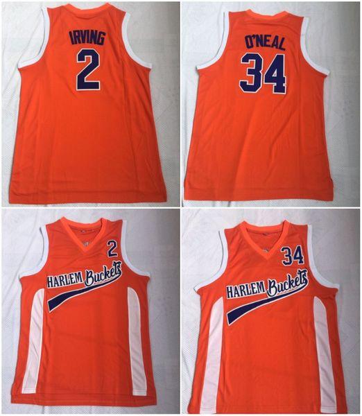 43ee437eb Uncle Drew Costume  2 Kyrie Irving Jersey Harlem Buckets Movie Film Orange  Mens Stitched