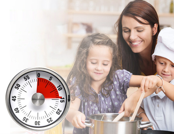Kitchen Timers 6cm & 8cm Mini Mechanical Countdown Kitchen Tool Stainless Steel Round Shape Cooking Time Clock Alarm Magnetic Timer