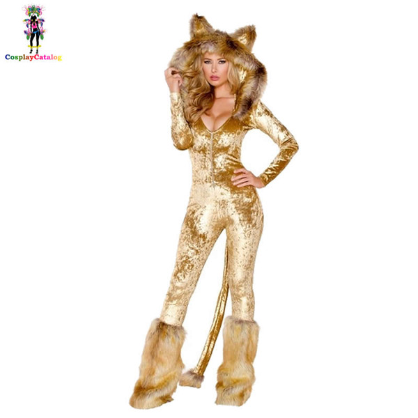 2019 Furry Velvet Adult Women Halloween Costumes Adult Party Animal Sexy Lion Costume Faux Fur Deluxe Long Sleeve Female Romper From Samanthe 68 75