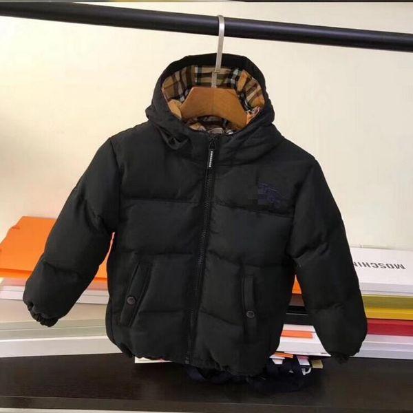 2019 sonbahar Kış yeni stiller marka B çocuklar uzun kollu ekose ceket kalın sıcak fermuar ceket kızlar yüksek kalite pamuk hoodie Aşağı Ceket