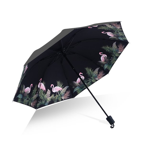 Flamingo All Weather Umbrella Ultraviolet Proof Sunshade Tri Folded Bumbershoot Thick Rod Summer Sombrilla Portable PPA417