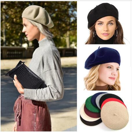 2019 New Fashion Elegant Lady Women Wool Felt Warm French Classic Beret Beanie Slouch Hat Cap Tam