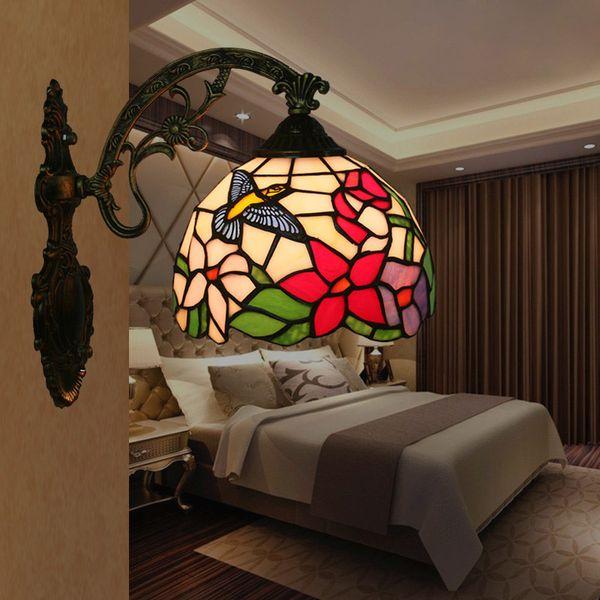 Tiffany Bathroom Mirror Light American Vintage Balcony Corridor Aisle Glass Flower Bird Lamparas de pared Living Room Bedroom Lamp