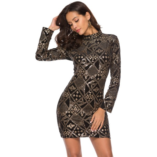 Women Black Gold Geometric Sequin Club Dress Sexy Stand Collar Long Sleeve Beaded Sheath Party Dress Baroque Style Mini Dress