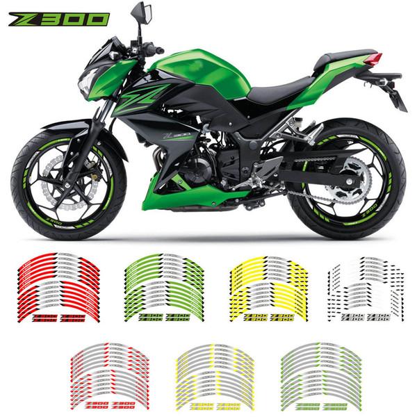Pneus novos legal modificado motocicleta adesivos roda reflexivo personalidade aro decalques decorativos internos para a Kawasaki Z300