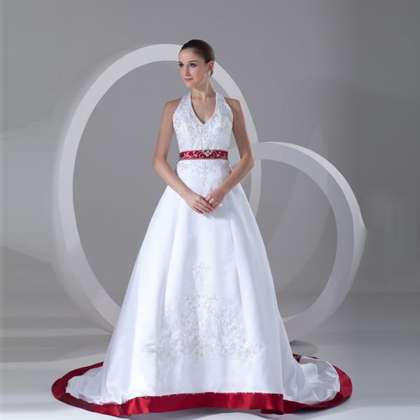 Discount Custom Made Elegant Burgundy White Satin Embroidery Wedding Dress 2017 Vintage Halter Beaded Vestidos De Novia 2017 With Sashes Simple