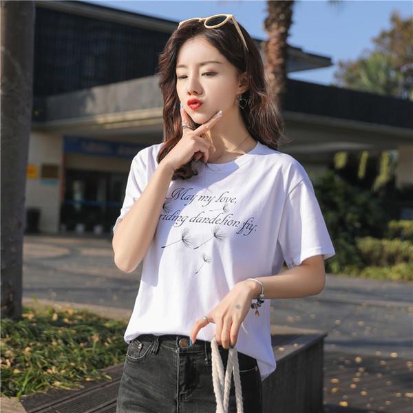 T-shirt en coton pour femme T-shirt en coton pour femme Manches courtes Nouvelle version coréenne de Loose Printing Half Sleeve pour femmes 1260