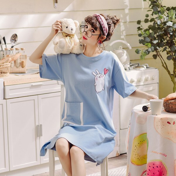Summer Women New Short Sleeve Nightgown Cotton Cute Cartoon Loose Sleepshirts Comfort Round Neck Sleepwear Female Nightwear