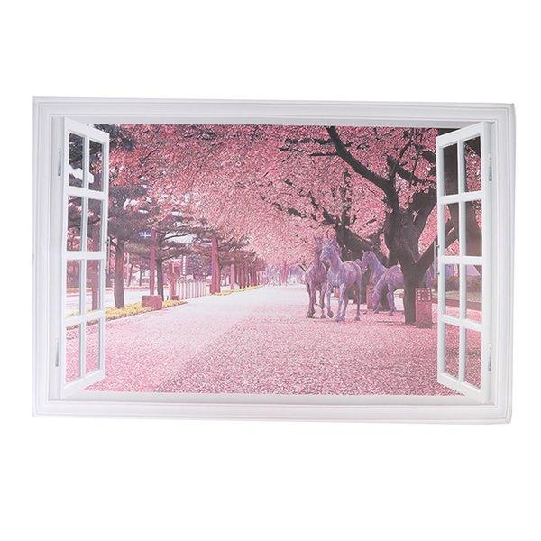 top popular 3D Window View Wall Sticker Home Decor Decal PVC Wallpaper 2021