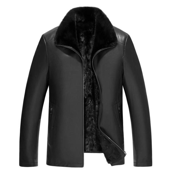 Mens Leather Jackets Shearling Mens Coat Men's Goat Skin And Fur Integrative Mink Inner Gallbladder Collar Medium Long Leather