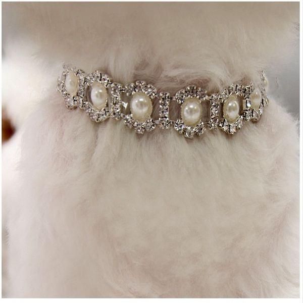 Haustiere Kragen Imitation Perle Strass Halskette Mode Hund Katze Zubehör Beliebt Mit Verschiedenen Stil Und Größe 5 9mp J1