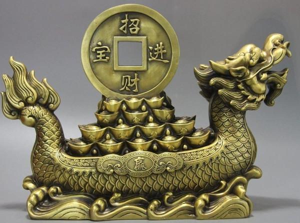 China Palace Brass Copper Fengshui Yuanbao Wealth Money Dragon Boat Ship Statue