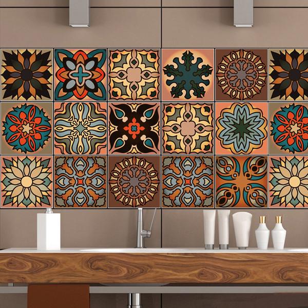 3D Morocco Style Retro Tile Floor Sticker Kitchen Bathroom Waist Line Wall Stickers Waterproof PVC Poster Home Decor Art Mural