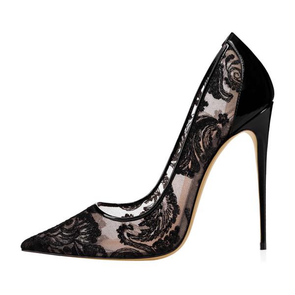 2019 Scarpe da sposa con tacco alto in pizzo nero per tacchi a spillo con tacco a spillo Scarpe da donna con tacco rosso Punta a punta Scarpe da sposa 12 cm