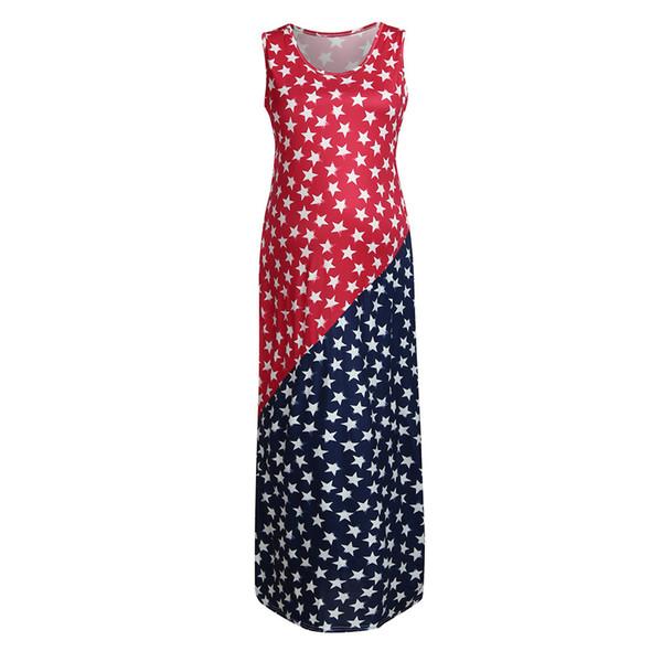 Women Maternity Dress 4th Of July Sleeveless Pregnancy Sundress American Flag Dresses Roupa Gravida Vetement Grossesse Femme
