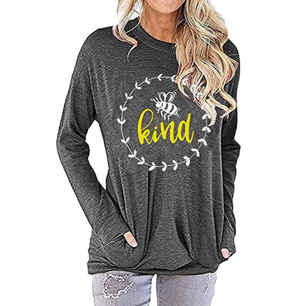 Bee tipo camiseta Mulheres letra impressa Hoodie mel em torno do pescoço manga comprida macio Comfy cobre a camisa LJJO7401
