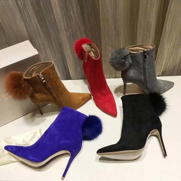 Las mejores botas de mujer de tacón alto con punta alta y diseño nuevo para la boda Botas de tacón de aguja para la fiesta del Día de San Valentín Tamaño 34-41