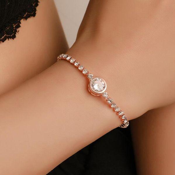 2019 vente chaude européenne et américaine coeur cristal or argent or rose charme charme coeur circulaire bracelets bracelet B3130