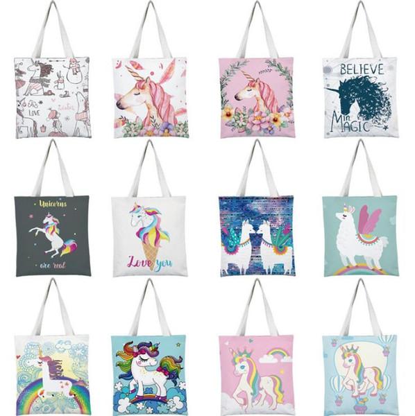 Women Canvas Shopping Bag Cartoon Christmas Unicorn Pattern Handbag Border Collie Print Women's Portable Shoulder Tote Bag Drop