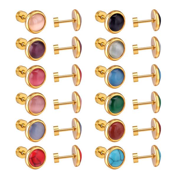 12 Paare / los Großhandel Edelstahl Schraube Ohrstecker Frauen antiallergisch Mode Ohrringe 10 MM Luxus Ohr Zubehör
