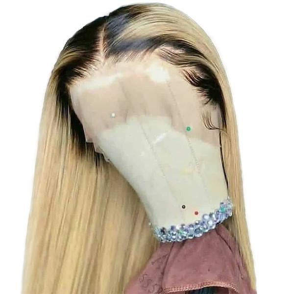 1B 613 Rubio Ombre Color Remy Peluca recta brasileña Larga pre desplumada Pelucas de cabello humano de encaje completo sin cola para mujeres negras