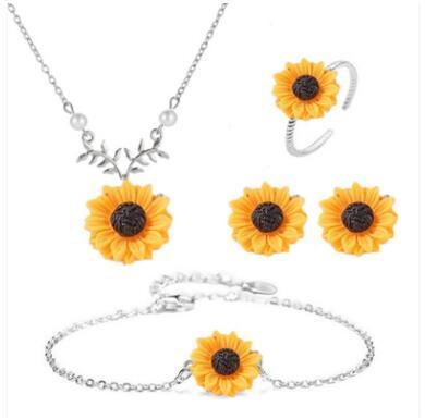 Conjunto de joyas de girasol Perla Collar de flores de sol Pendientes Pulsera con anillo Conjunto de joyas de mujer Girasoles Pulsera 3 colores