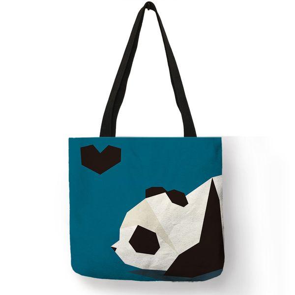Mavi Lacivert Renk Kadın Çanta Karikatür Hayvan Tasarım Panda Tavşan Kuş Kedi Köpek Baskı Bez Çantalar Kadın Kızlar Pratik Aksesua ...