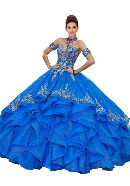 Detachable Sleeves Off Shoulder Quinceanera Prom Dresses 2019 Cheap Ruffles Ball Gowns Embroidery Beaded Vestido De Dress For Sweet 15 16