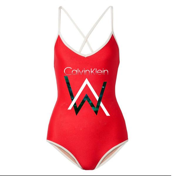 Letter Print Lady Beach Wear Simple Solid One Piece Swimsuit Fashion Women's Swimwear Pool Party Bathing Suit Swim Wear