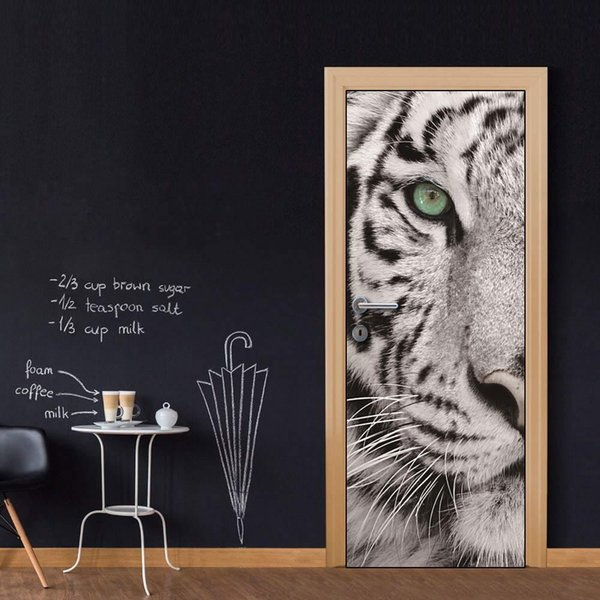 Free shipping DIY Door Sticker Black White Tiger door decals decorations for Bedroom Living Room wallpapers Decal home accessories