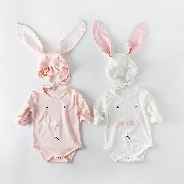 infant girls cartoon romper bunny ear hat spring long sleeve rabbit cotton infant onesie korean fashion newborn jumpsuit C5074