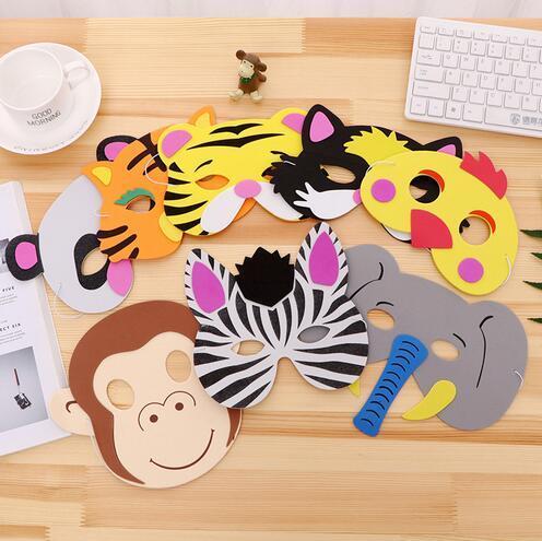 Partie Masque D'anniversaire Fournitures EVA Mousse Animal Masques de Bande Dessinée Enfants Parti Dress Up Costume Zoo Jungle Masque Partie Décoration GB593