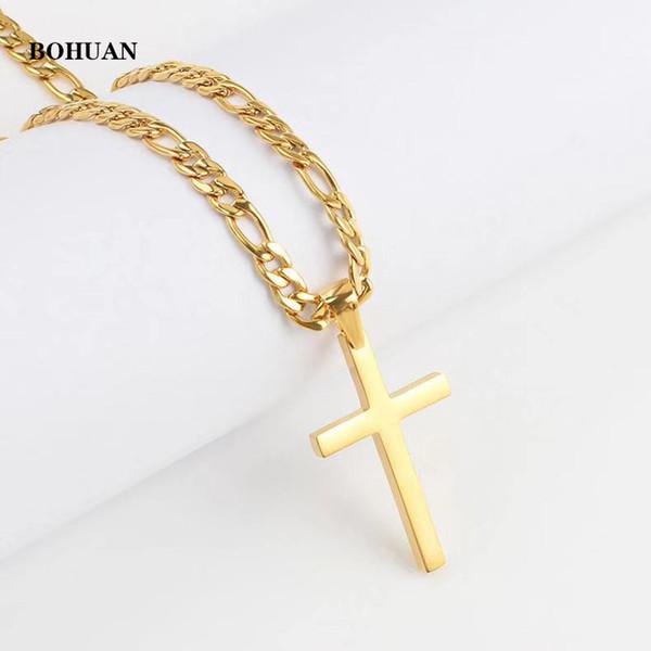 les hommes hip-hop européens et américains et les femmes traversent collier pendentif, la mode-vente chaud collier pendentif en acier inoxydable