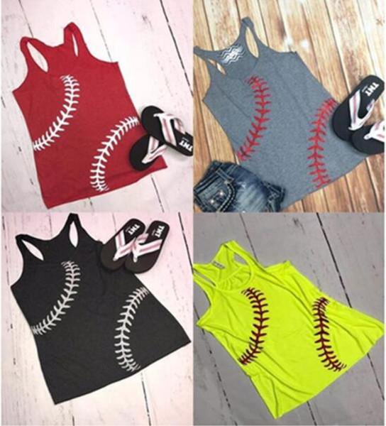 Frauen Baseball Weste Tank Sommer Baseball Printed Sport Tanks Sleeveless T-Shirts Weste Softball Strand Camis Tops Mädchen Westen 15 stücke GGA1704