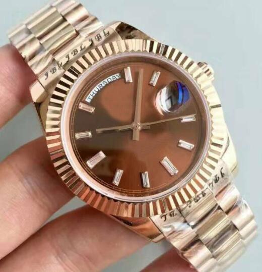 Hot-vente montre en or rose 40mm h, min, SEC et la date dans les deux sens de zéro en acier inoxydable verre saphir résistant avec résolution d'eau à revêtement argon