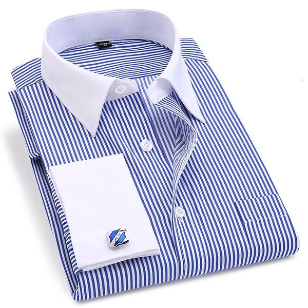 Французский манжету Мужская платье с длинным рукавом высокого качества Regular Fit Мужской Социальный Свадеб Запонки рубашка плюс размер 5XL 6XL V191109