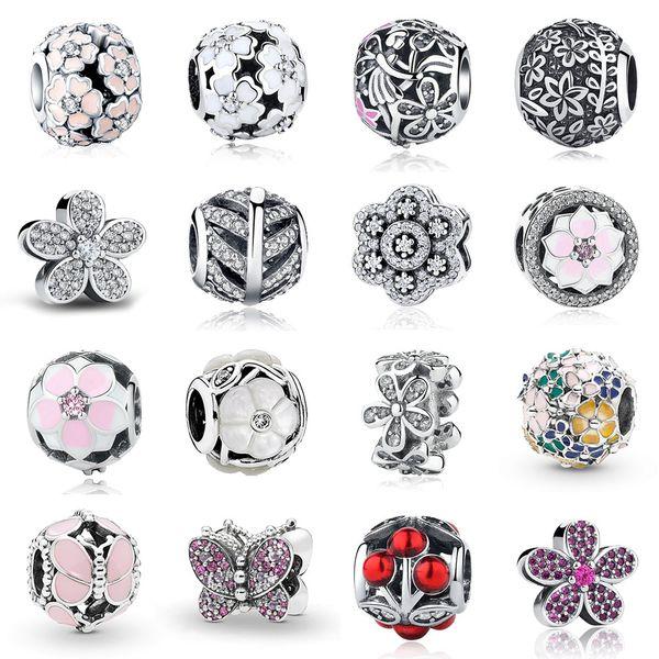 Nova 925 Sterling Silver Cruz Amor Coração Mãe Charme Rosa de Ouro Esmalte Talão Serve Pulseira Pandora DIY para Mulheres Jóias Acessórios No.015