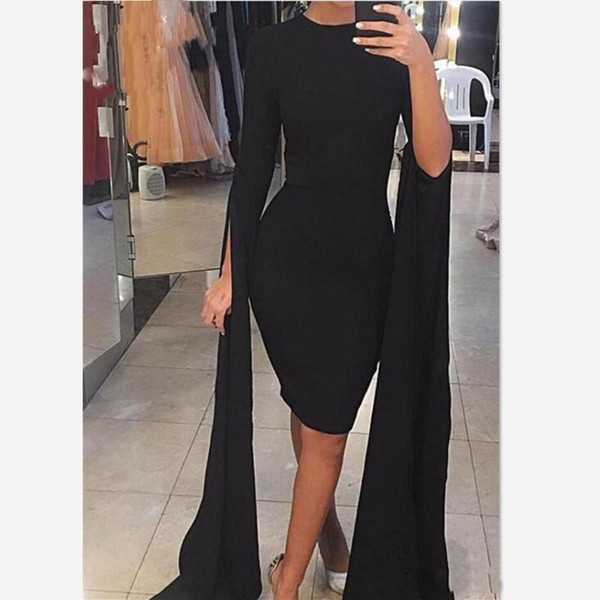 Manica lunga arabi neri abiti da cocktail 2020 Jewel Neck knee-lunghezza Prom Gowns Robes de Partito abiti da sera