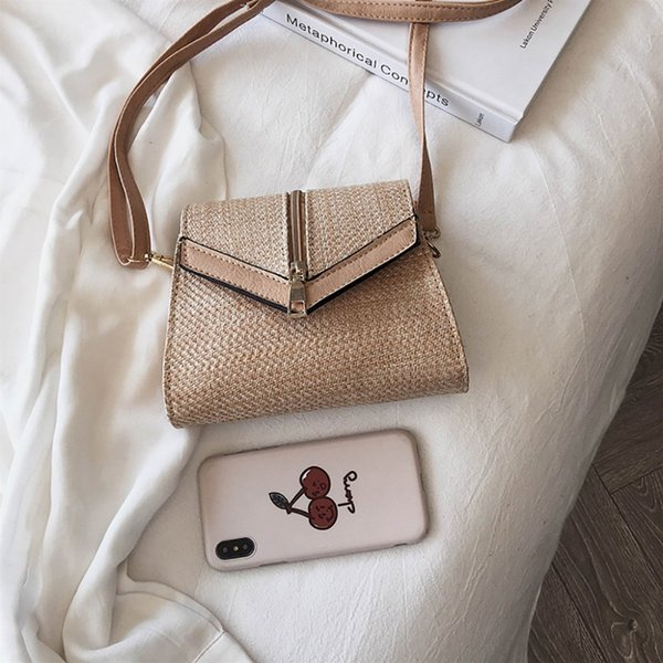 2019 Fashion Hand-woven Straw Bags Summer Style Women Handbags Leather Straps Beach Bohemian Rattan Crossbody Bags Handmade sac