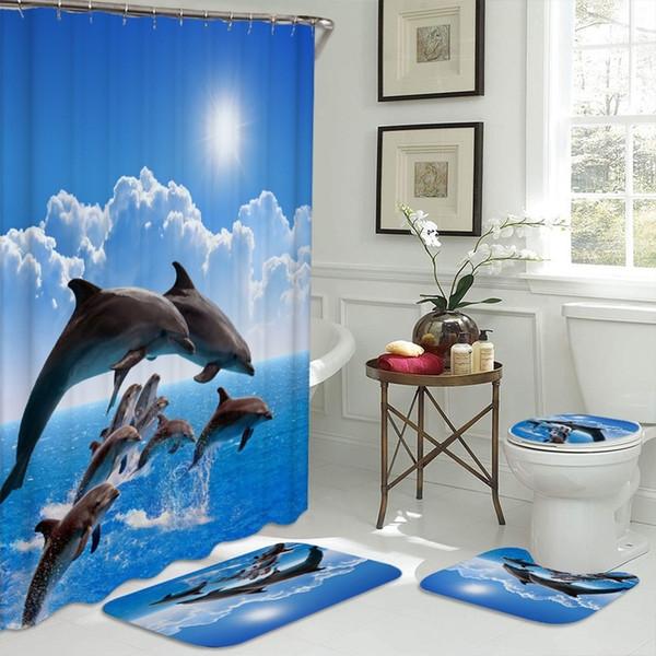 Multi-size Retro Golden Mermaid Design Polyester Fabric Custom Shower Curtain