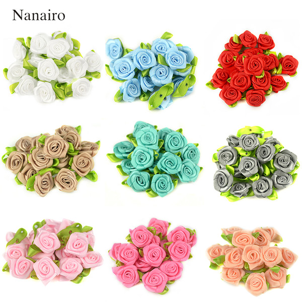 50PCS 2CM Artificial Silk Mini Rose Flowers Heads Make Satin Ribbon DIY Craft Scrapbooking Applique For Wedding Decoration
